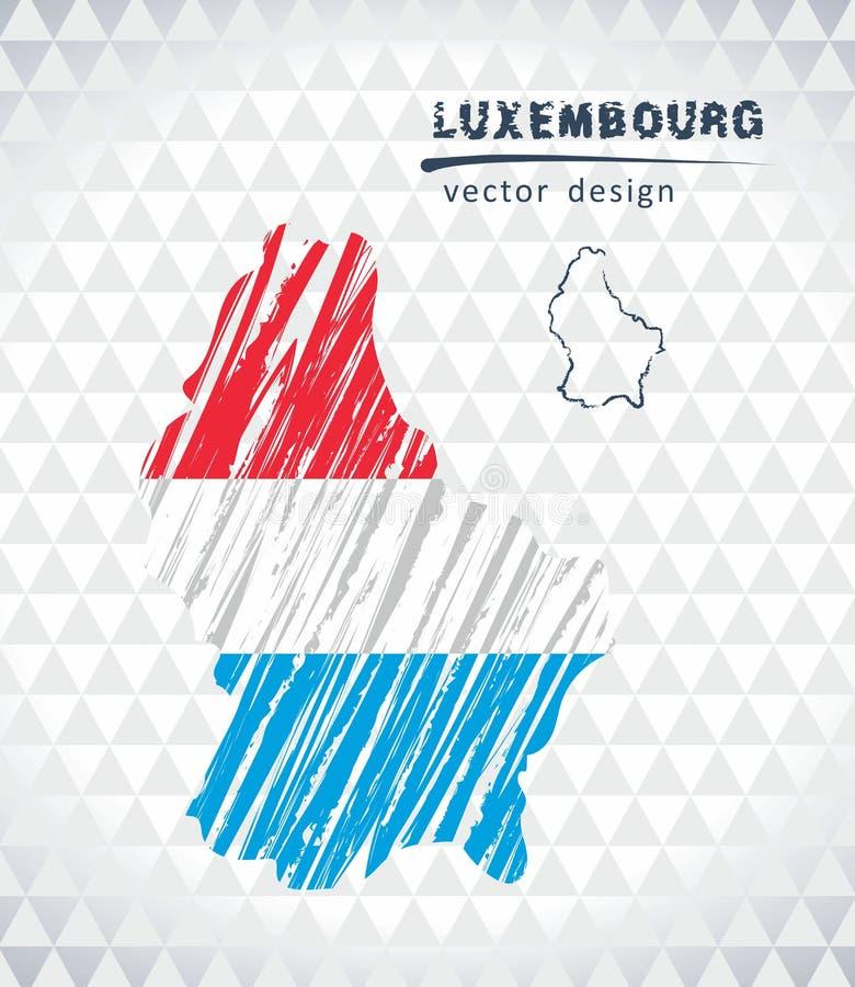Il Lussemburgo vector la mappa con l'interno della bandiera isolato su un fondo bianco Illustrazione disegnata a mano del gesso d royalty illustrazione gratis