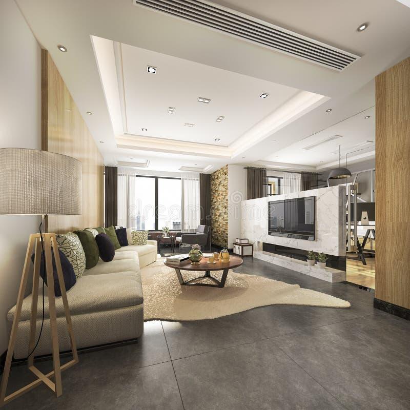 il lusso della rappresentazione 3d ed il salone moderno con buona progettazione rivestono di pelle il sofà illustrazione vettoriale