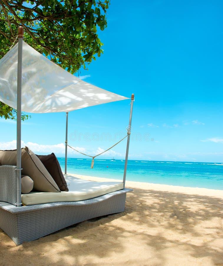 Il lusso si distende la presidenza su una bella spiaggia tropicale fotografia stock libera da diritti