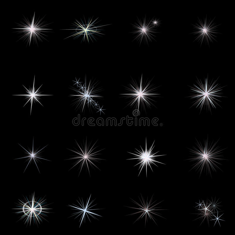Il lustro stars con gli scintilli e scintilla Stelle impostate royalty illustrazione gratis