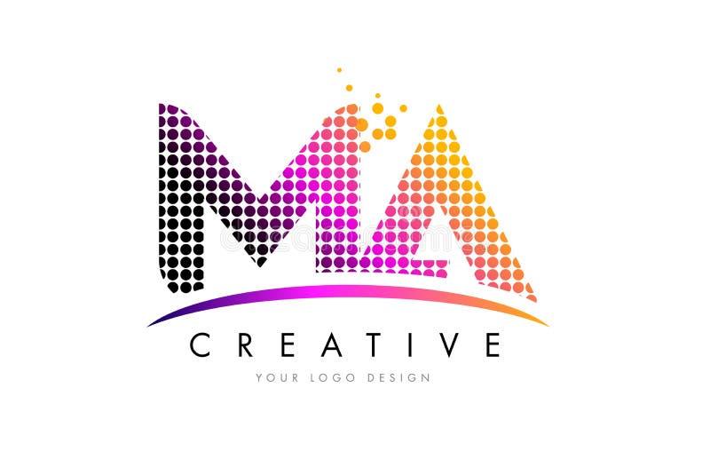 Il mA m. A Letter Logo Design con i punti magenta e mormora illustrazione di stock