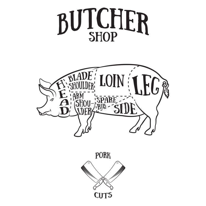 Il macellaio taglia lo schema di carne di maiale illustrazione di stock