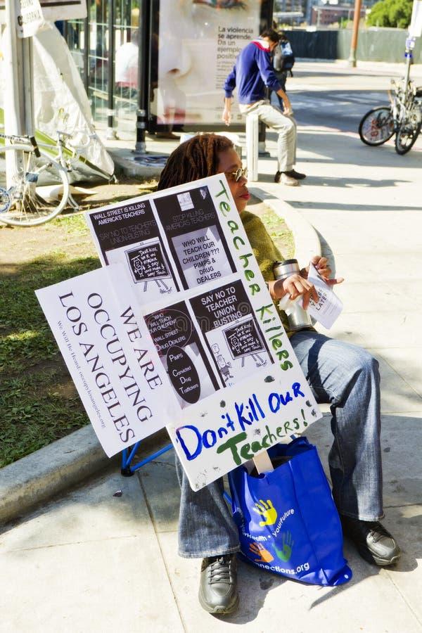 Il maestro di scuola a occupa la dimostrazione della LA immagini stock libere da diritti