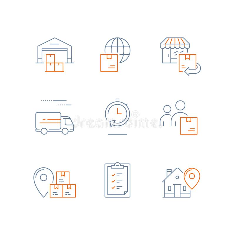 Il magazzino di distribuzione, la consegna veloce, la catena di fornitura, il trasporto globale, il ritorno di ordine, società di illustrazione vettoriale