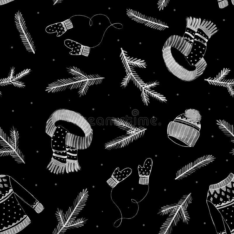 Il maglione, il cappello dell'inverno, la sciarpa ed i guanti segnano il modello col gesso senza cuciture dei disegni Priorità ba illustrazione vettoriale