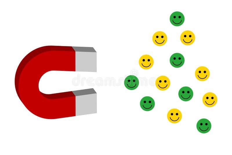 Il magnete di funzionamento, attirante gli emoticon dei clienti per l'affare o la commercializzazione di profitto illustrazione vettoriale