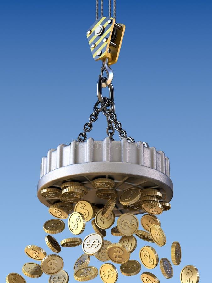 Il magnete di sollevamento attira il concetto dei soldi illustrazione vettoriale