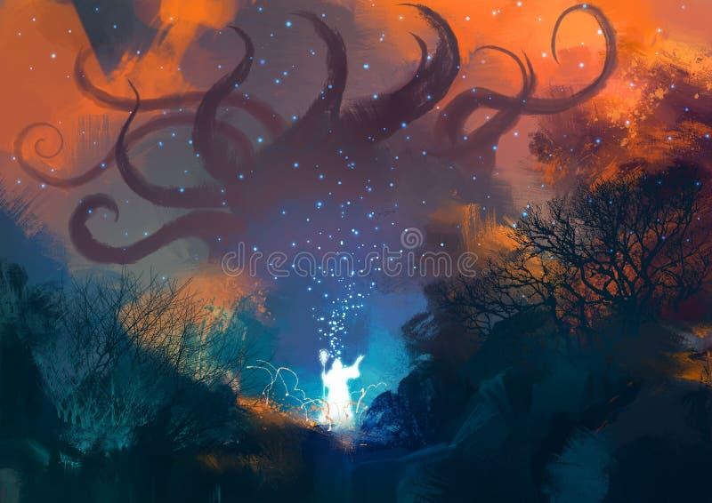 Il mago lancia un incantesimo con la sua bacchetta illustrazione vettoriale