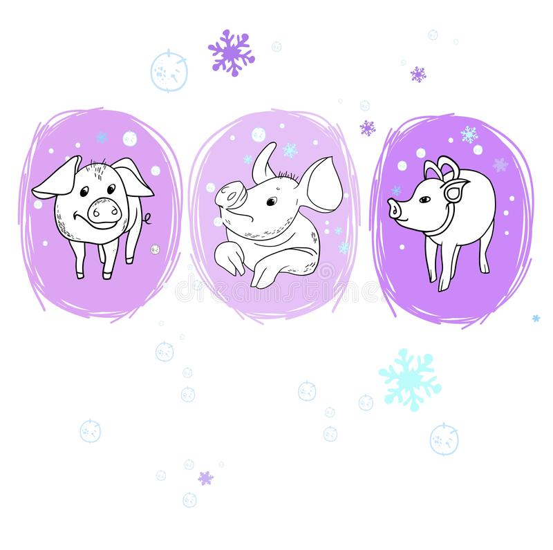 Il maiale allegro del nuovo anno royalty illustrazione gratis