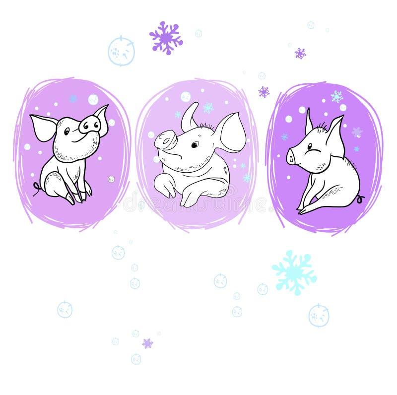 Il maiale allegro del nuovo anno illustrazione vettoriale