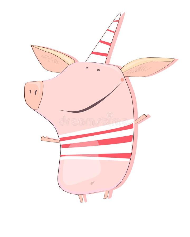 Il maiale del nuovo anno felice ed allegro illustrazione vettoriale