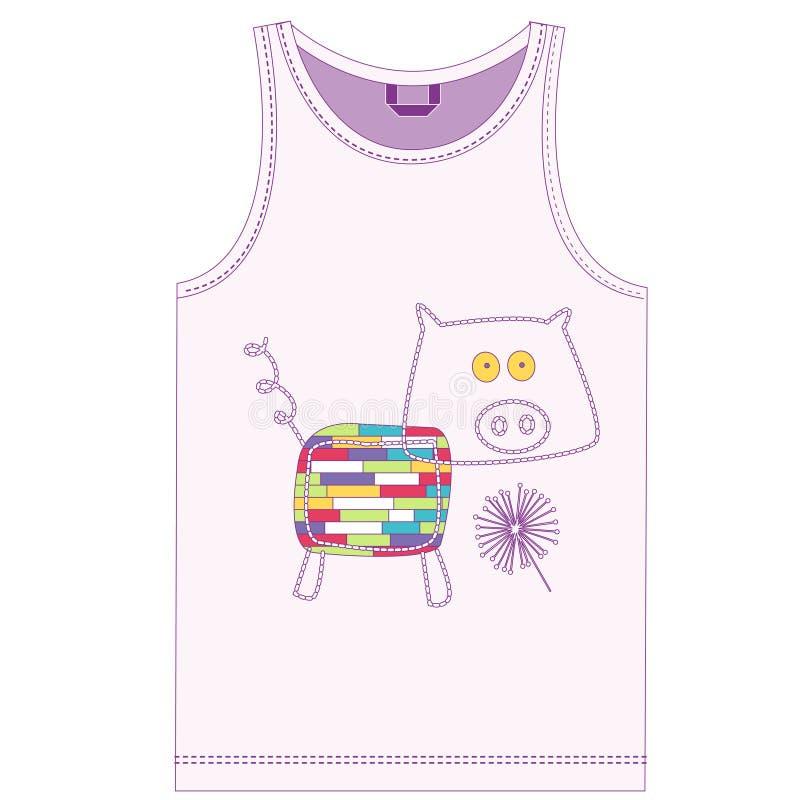 Il maiale divertente della stampa per la settimana dei bambini ha una serie di 7 animali illustrazione di stock