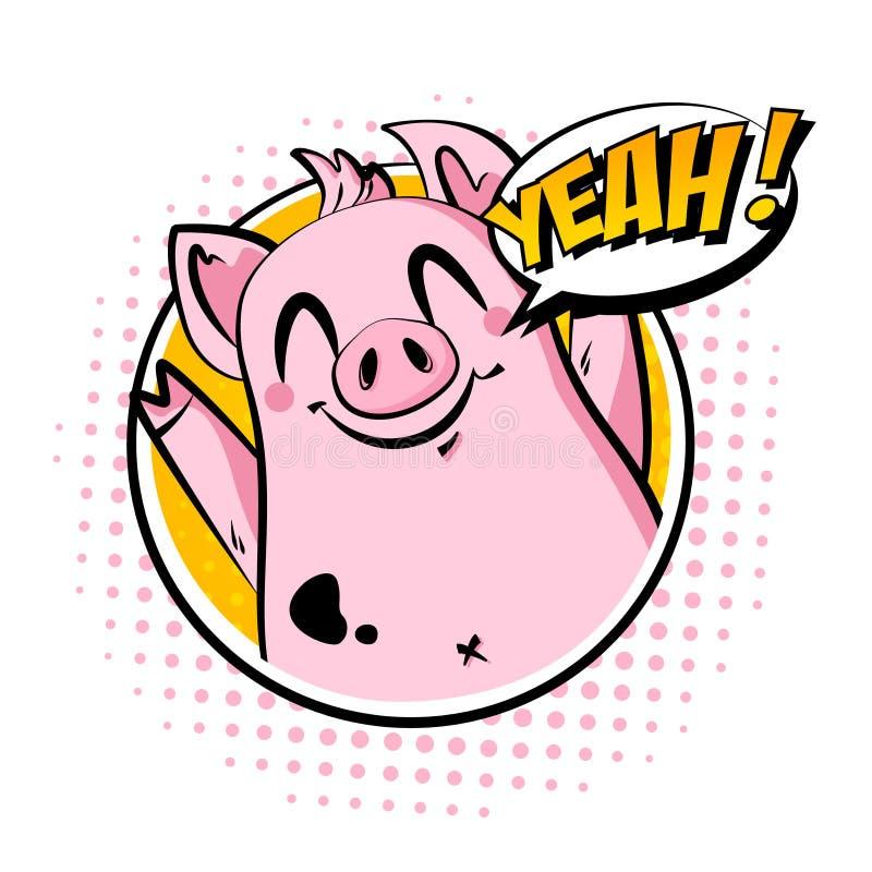 Il maiale nel telaio dice sì Cartolina d'auguri nello stile dei fumetti Innesta l'icona royalty illustrazione gratis