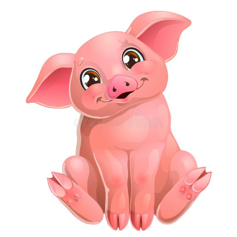 Il maiale rosa sveglio si siede su bianco illustrazione di stock