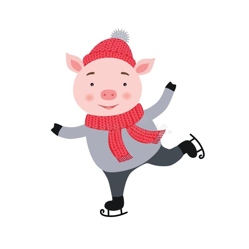 Il maiale sveglio sta pattinando Composizione nella cartolina di Natale e nel nuovo anno, stampa fatta a mano Illustrazione di ve illustrazione vettoriale