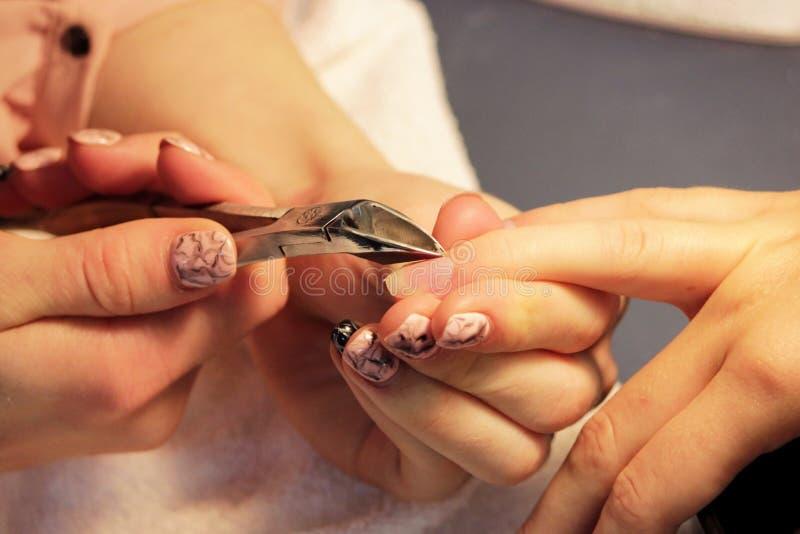 Il manicure ai corsi di formazione mostra a studenti come trattare i chiodi con l'aiuto delle cuticole delle pinze prima dell'app fotografie stock libere da diritti