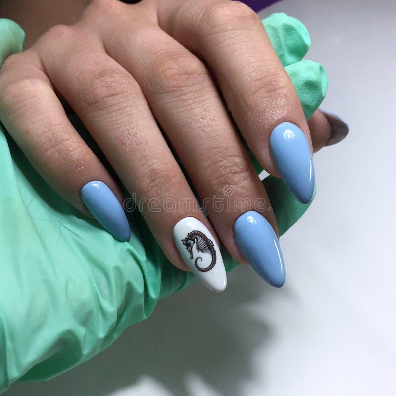 il manicure femminile blu sulle unghie si chiude su fotografia stock