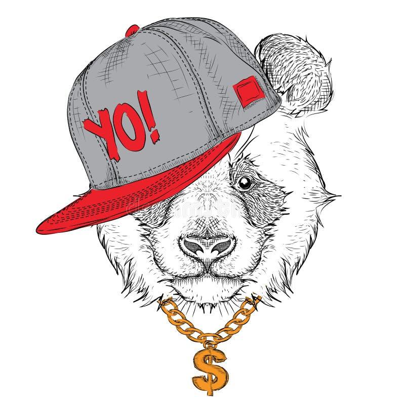 Il manifesto con il ritratto del panda di immagine in cappello hip-hop Vettore royalty illustrazione gratis