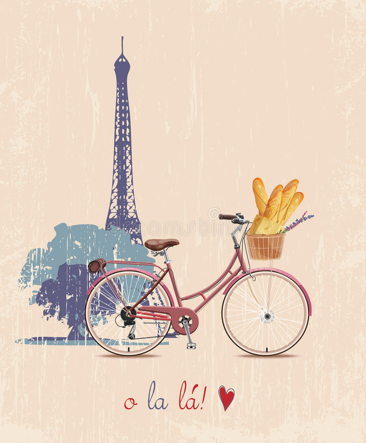 Il manifesto con la bici e le baguette francesi nello stile d'annata Siluetta della Torre Eiffel Illustrazione di vettore illustrazione di stock