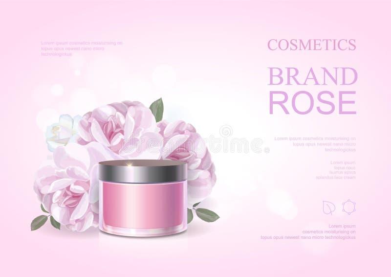 Il manifesto cosmetico del prodotto di bellezza rosa, è aumentato modello crema d'idratazione, annunci di cura di pelle Illustraz illustrazione vettoriale
