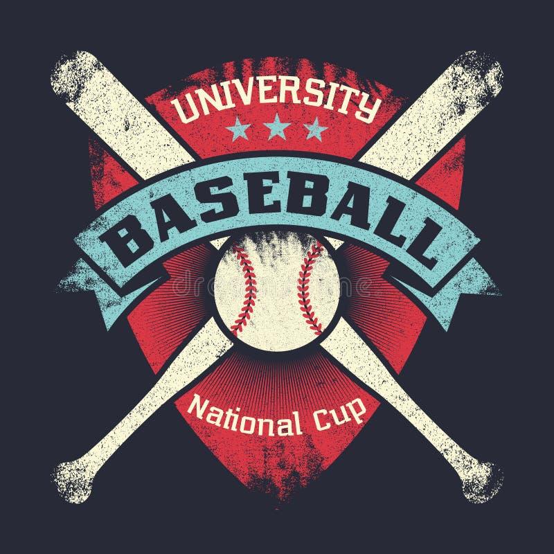 Il manifesto d'annata di lerciume di baseball con lo schermo, stelle, ha attraversato i pipistrelli e la palla royalty illustrazione gratis
