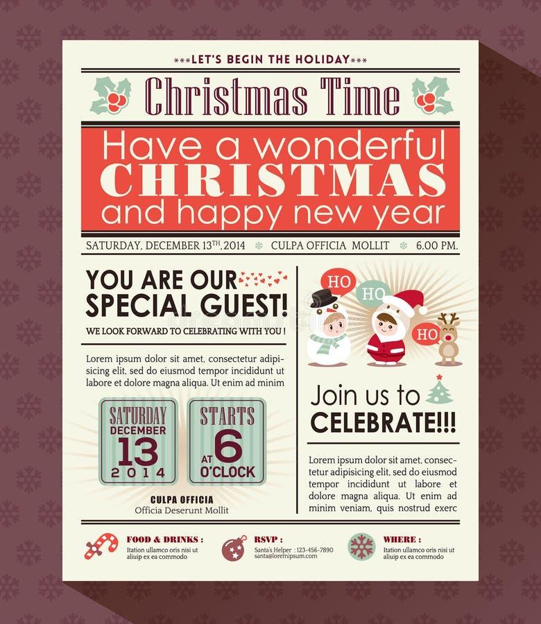 Il manifesto della festa di Natale invita il fondo nello stile del giornale royalty illustrazione gratis