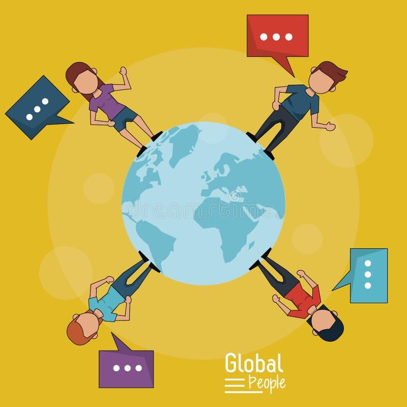 Il manifesto della gente globale con fondo giallo di pianeta Terra e della gente intorno lei con testo dialoga illustrazione di stock