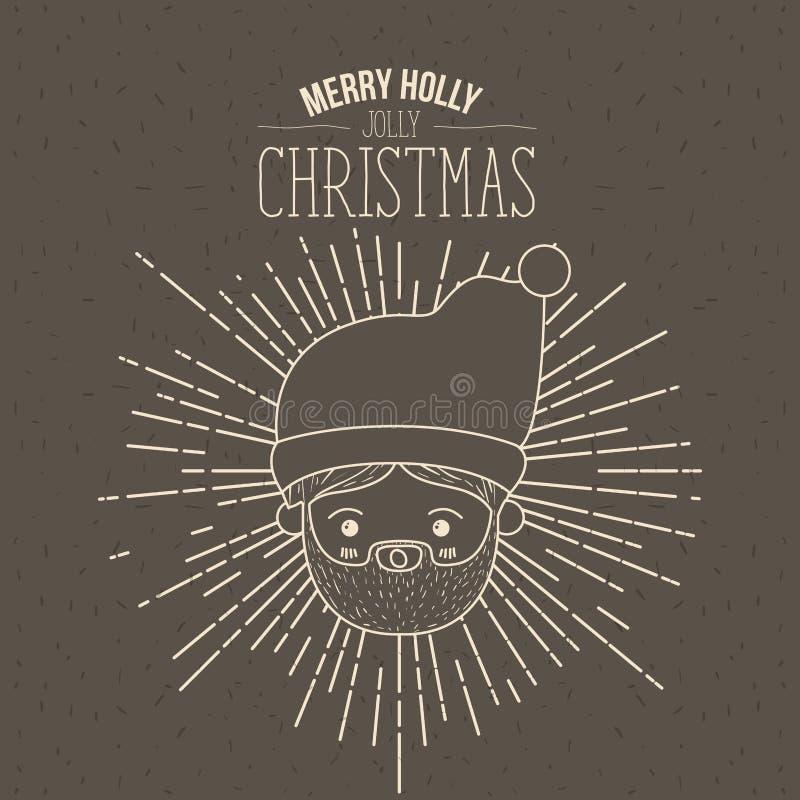 Il manifesto di Brown con le scintille ed il primo piano sveglio della siluetta affronta il Babbo Natale con l'agrifoglio allegro illustrazione vettoriale