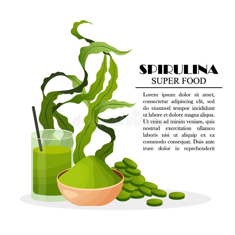 Il manifesto di Spirulina con le alghe spolverizza le alghe del frullato delle compresse isolate su fondo bianco, illustrazione d immagine stock