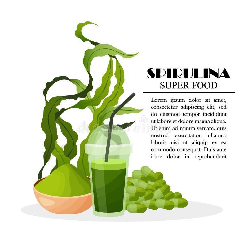 Il manifesto di Spirulina con le alghe spolverizza le alghe del frullato delle pillole isolate su fondo bianco, illustrazione di  fotografia stock