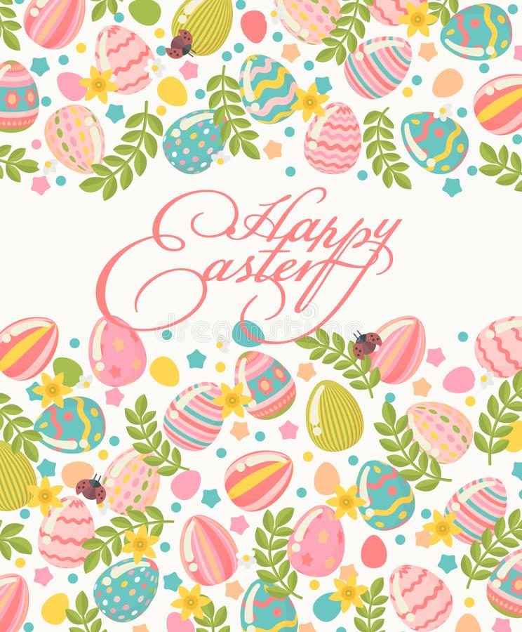 Il manifesto felice di saluto di Pasqua nei colori pastelli con la corona variopinta eggs illustrazione di stock