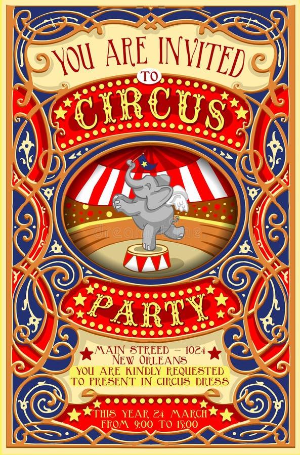 Il manifesto invita per il partito del circo con Elephnant royalty illustrazione gratis