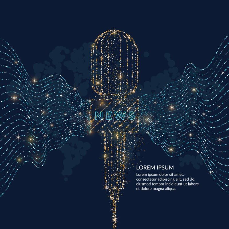 Il manifesto luminoso con un microfono di notizie, le onde dinamiche è fatto di oro e di scintillio blu illustrazione vettoriale