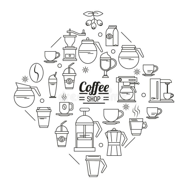 Il manifesto monocromatico della caffetteria con parecchie icone si è riferito a caffè royalty illustrazione gratis
