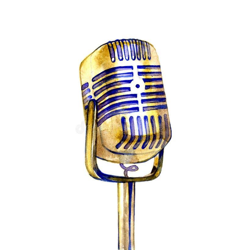 Il manifesto nello stile d'annata su un retro partito Vecchio microfono royalty illustrazione gratis