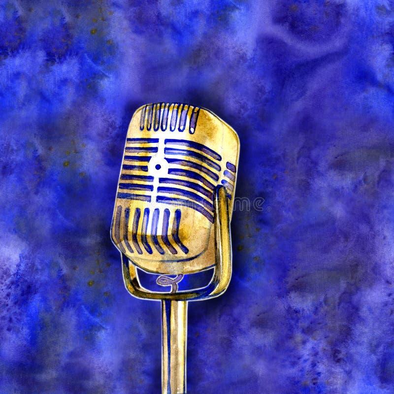 Il manifesto nello stile d'annata su un retro partito Vecchio microfono illustrazione vettoriale
