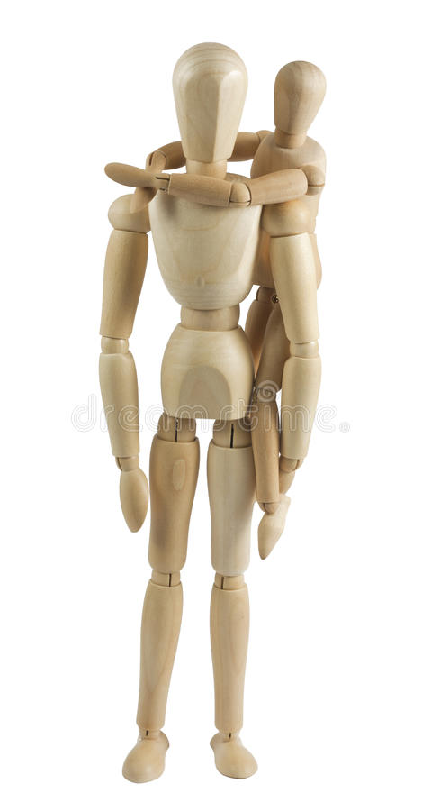 Il mannequin del bambino appende su una parte posteriore al genitore immagine stock libera da diritti