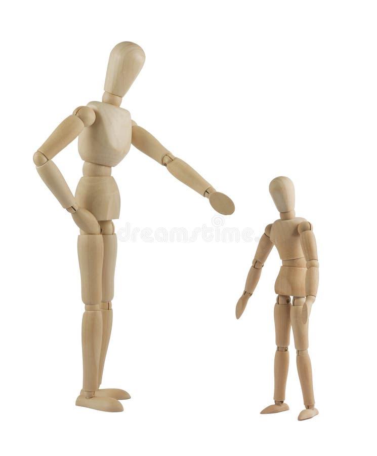 Il mannequin del genitore che rimprovera il suo bambino immagine stock