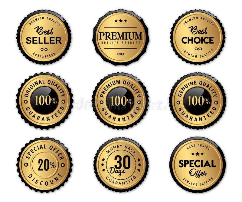 Il marchio di lusso identifica l'oro ed il prodotto di qualità di premio illustrazione di stock
