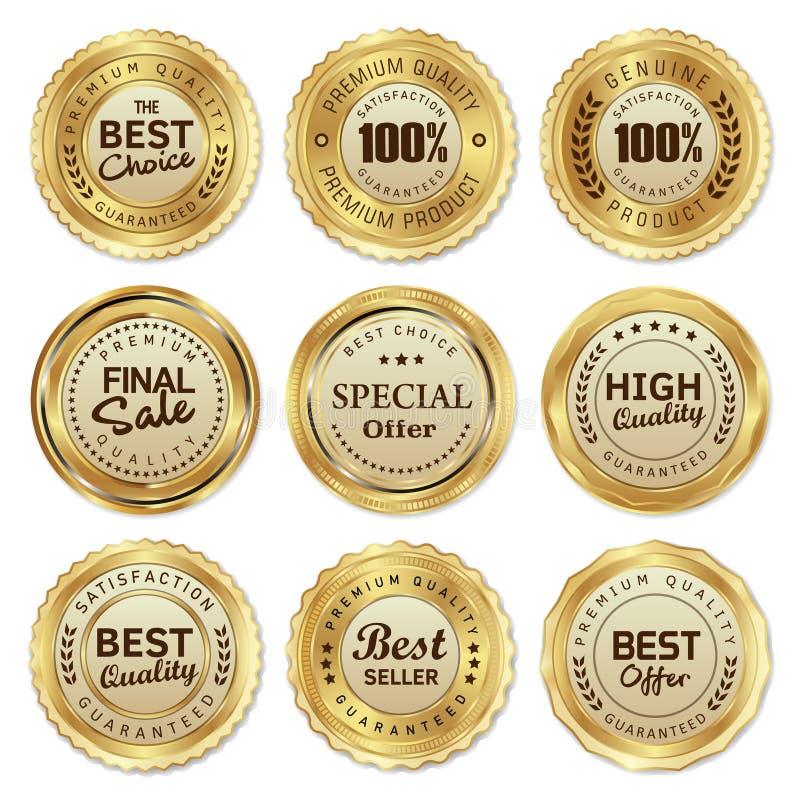 Il marchio dorato identifica il prodotto di qualità fotografia stock libera da diritti