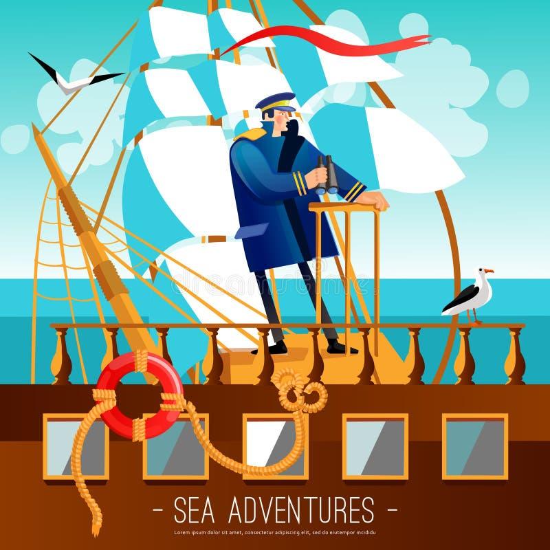 Il mare avventura l'illustrazione del fumetto illustrazione vettoriale