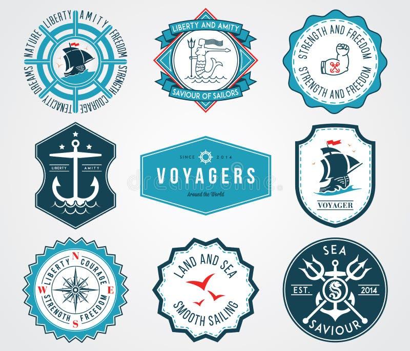 Il mare badges 2 colorato royalty illustrazione gratis