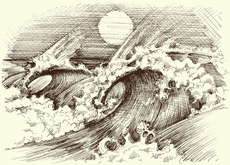 Il mare enorme ondeggia incisione royalty illustrazione gratis