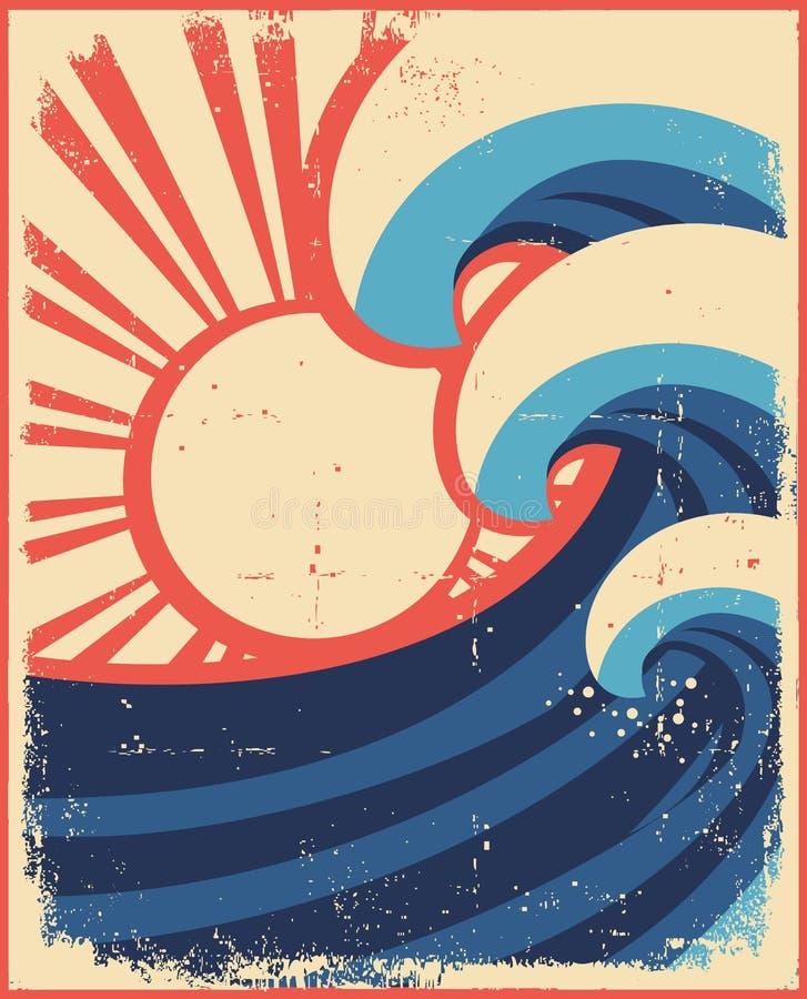 Il mare fluttua il manifesto. illustrazione vettoriale