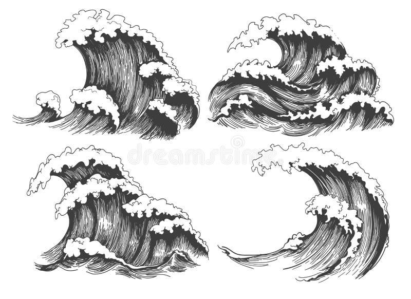 Il mare ondeggia l'insieme di schizzo illustrazione vettoriale