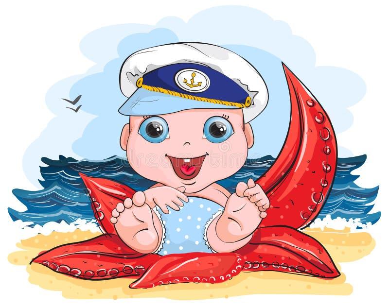Il mare sulla bambina della spiaggia in un cappuccio si siede sulle stelle marine illustrazione vettoriale