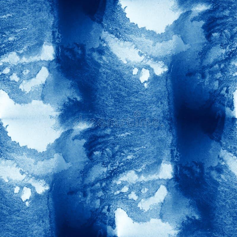 Il mare variopinto del modello dell'acqua ondeggia il fondo dipinto a mano dell'acquerello della pittura di arte senza cuciture a illustrazione di stock
