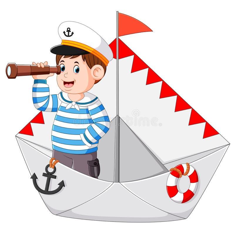 Il marinaio sta tenendo il binocolo nella carta della nave royalty illustrazione gratis