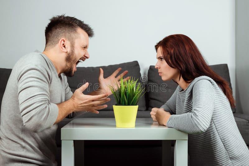 Il marito e la moglie gridano ad a vicenda, primo piano Litigio della famiglia, prova di forza, divisione della proprietà, divorz fotografie stock