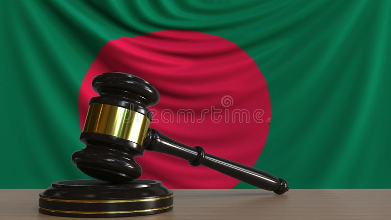 Il martelletto ed il blocchetto del giudice contro la bandiera del Bangladesh Rappresentazione concettuale 3D della corte del Ban illustrazione di stock